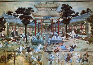 Фреска Шаолиня - тренировка монахов